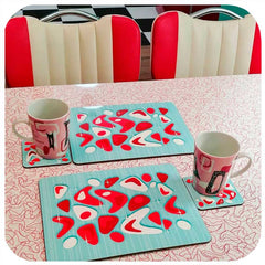Customer photo - Atomic Boomerang placemats and coasters in American Diner style kitchen | The Inkabilly Emporium