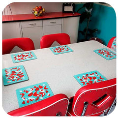 Customer photo - Atomic Boomerang Placemats in American Diner style dining room | The Inkabilly Emporium