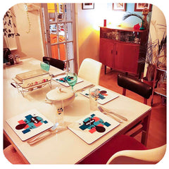 Customer photo - Atomic Cat Placemats in retro dining room | The Inkabilly Emporium