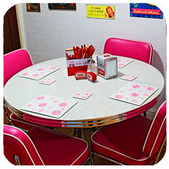Customer photo - Atomic Starburst placemats and coasters on 50s dinette set