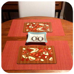 Customer photo - Atomic Boomerang Placemats on vintage mid century table | The Inkabilly Emporium