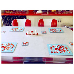 Customer photo - Atomic Boomerang Placemats and coasters in 50s style kitchen | The Inkabilly Emporium