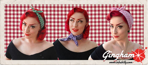 Gingham Bandanas, head scarves and neckties by Inkabilly