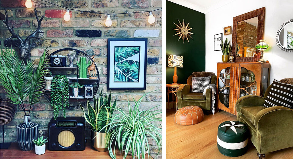 House Tour: Rachel's Eclectic Retro Home - shelf details and lounge corner with art deco cabinet