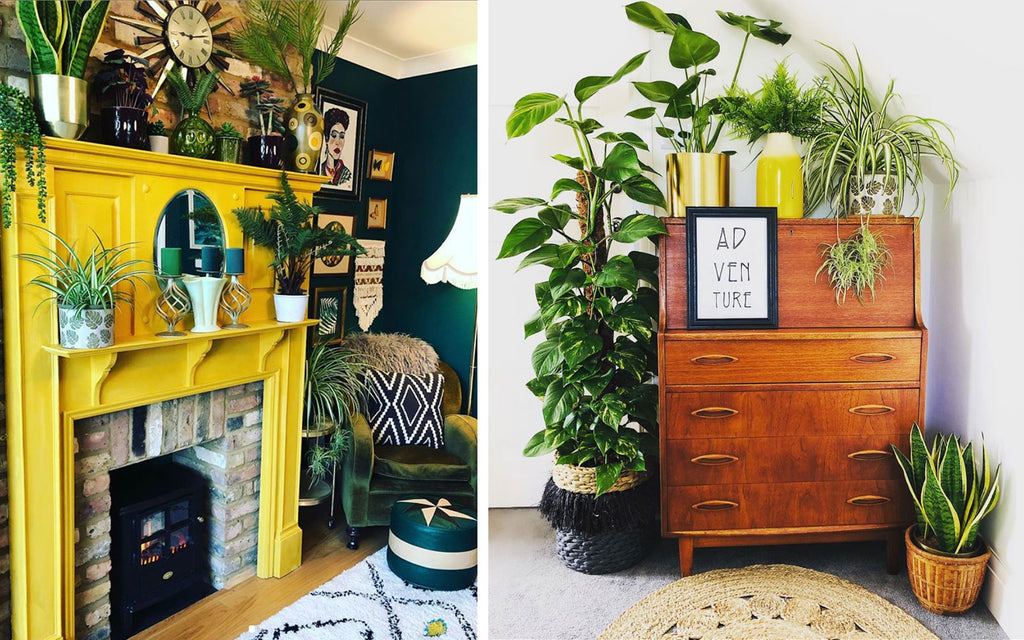 House Tour: Rachel's Eclectic Retro Home - stunning yellow fire surround and teak sideboard