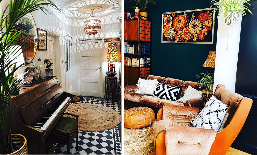 House Tour: Rachel's Eclectic Retro Home - hallway with piano & lounge with french mid century tapestry, ladderax unit