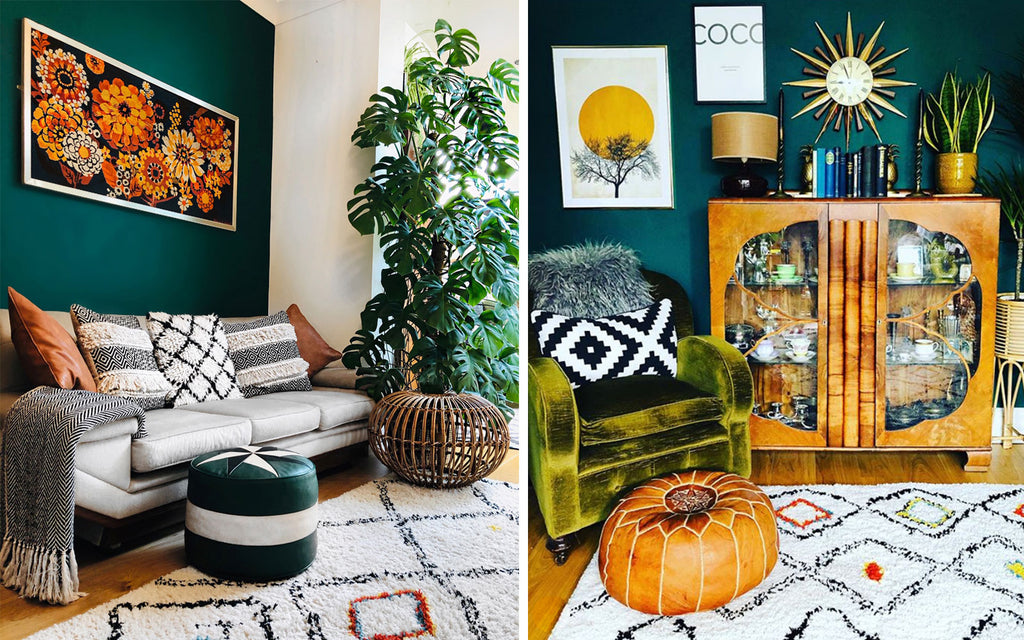 House Tour: Rachel's Eclectic Retro Home - french mid century tapestry and cheese plant, art deco cabinet