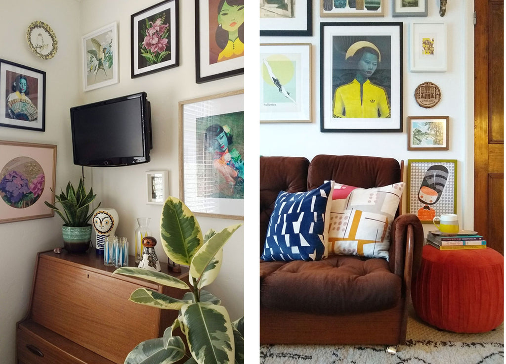 House Tour: Beth's Mid Century Family Home - Dining Room Corner and Living Room sofa
