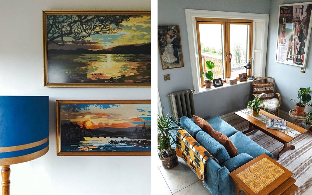 Inkabilly Blog House Tour: Aislings Eclectic Shack - Mid Century paintings and lounge furniture