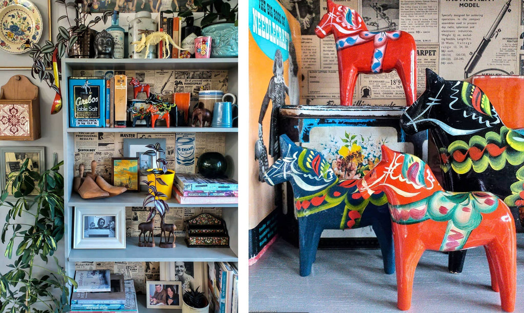 Inkabilly Blog House Tour: Aisling's Eclectic Shack - busy shelfie and close-up details of scandi horses