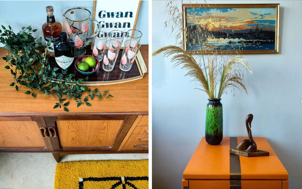 Inkabilly Blog House Tour: Aislings Eclectic Shack - Mid Century Teak furniture and accessories