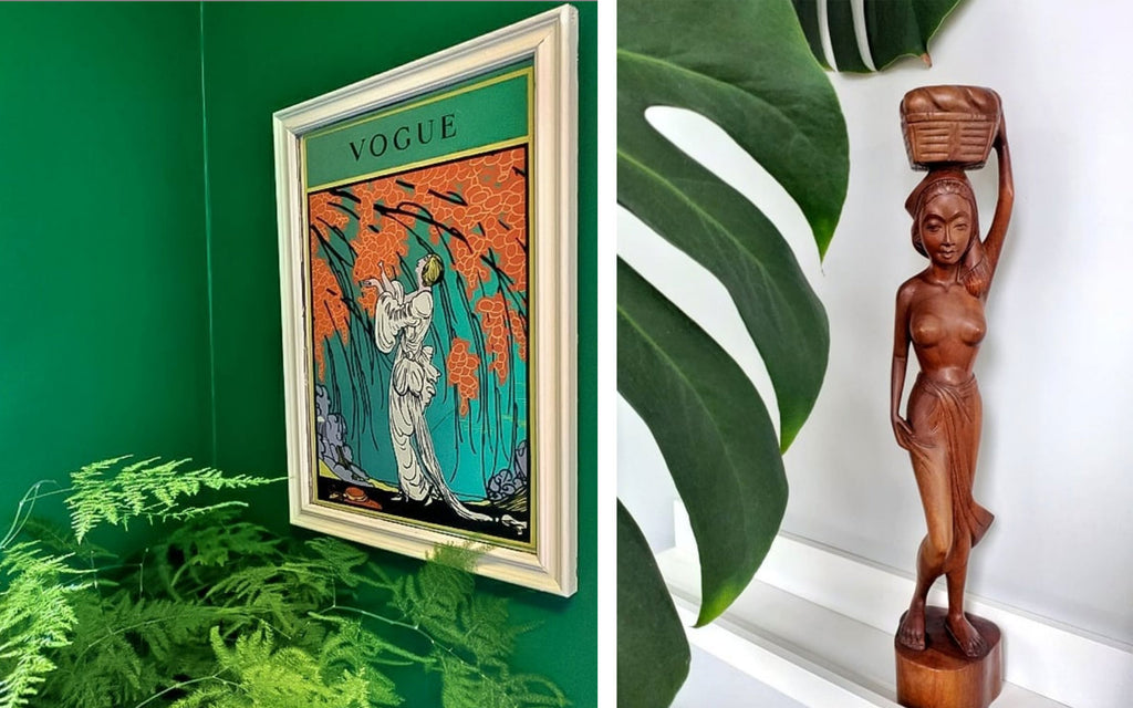Inkabilly Blog House Tour: Aisling's Eclectic Shack - details in green, picture, plants and african statue