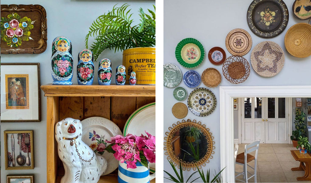 Inkabilly Blog House Tour: Aisling's Eclectic Shack - details of wall decor, russian dolls, vintage ceramics and picturess