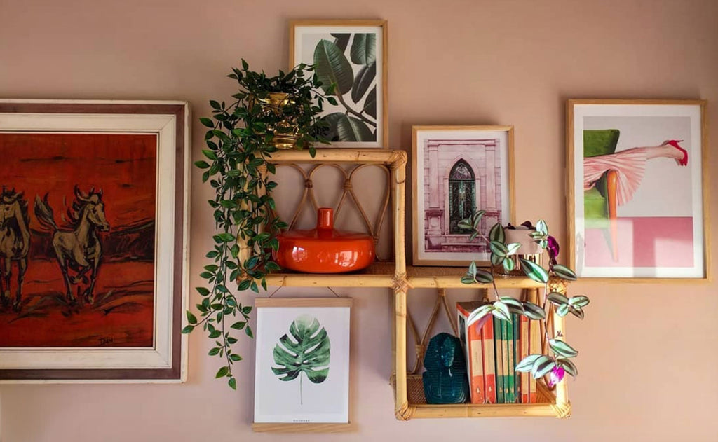 Inkabilly Blog House Tour: Aisling's Eclectic Shack - wot not shelf with vintage book and pictures