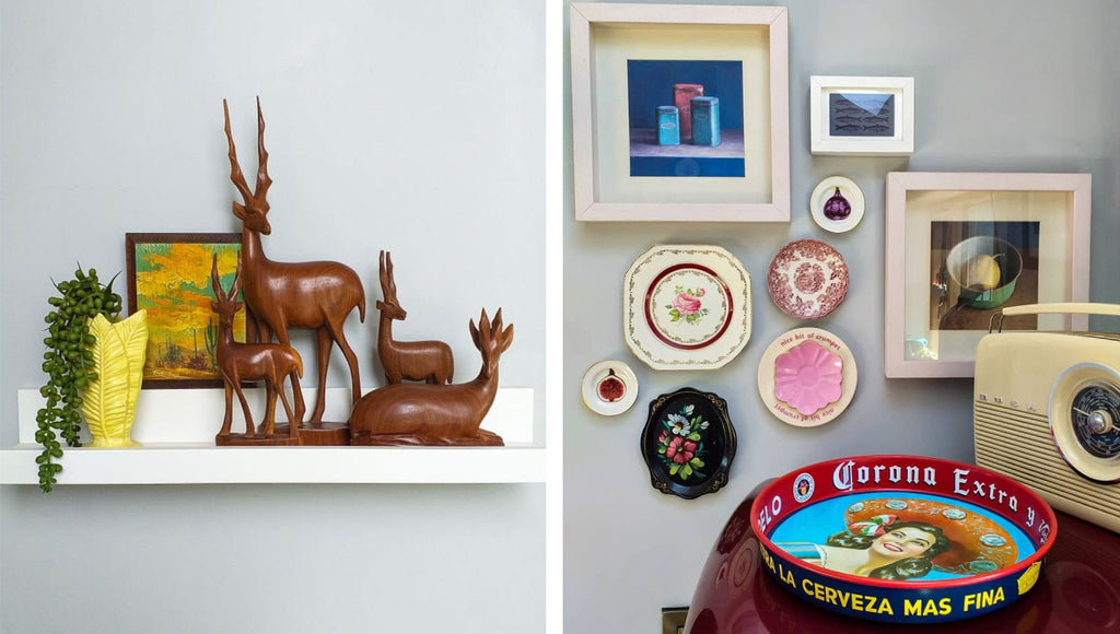 Inkabilly Blog House Tour: Aisling's Eclectic Shack - details of mid century teak deer, vintage radio, tray and pictures