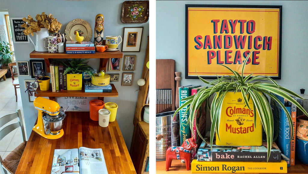 Inkabilly Blog House Tour: Aisling's Eclectic Shack - Kitchen corner with brightly coloured vintage decor