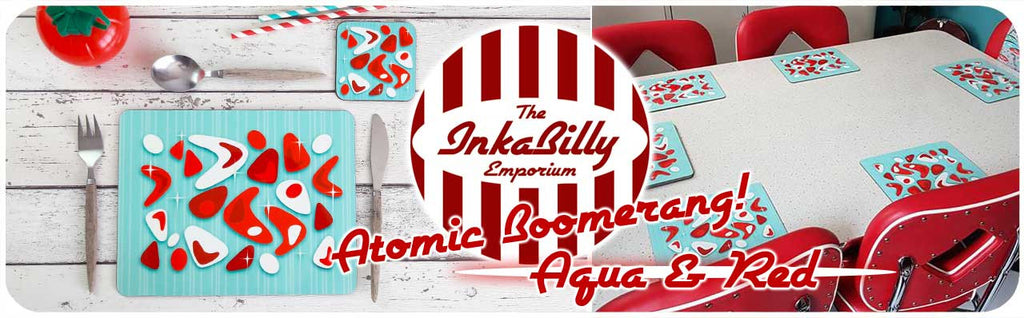 New Atomic Boomerang Tableware in Aqua and Red