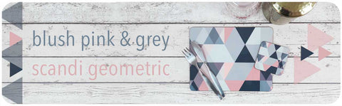 Blush Pink and Grey Scandi Geometric Homewares