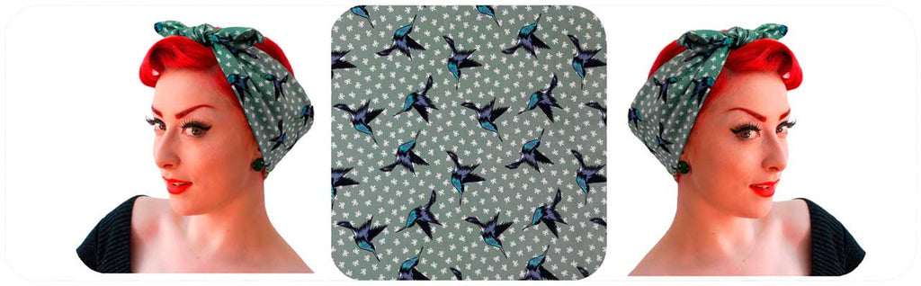 Humming birds bandanas in sage green, new prints for summer hair!