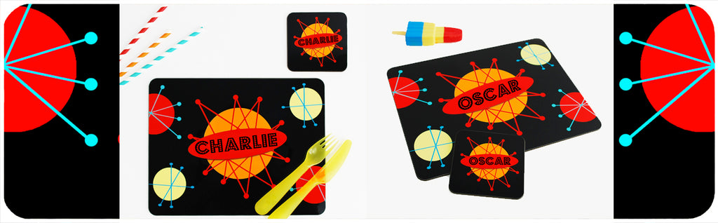 Retro Space Personalised Kids Placemat and Coaster by Inkabilly