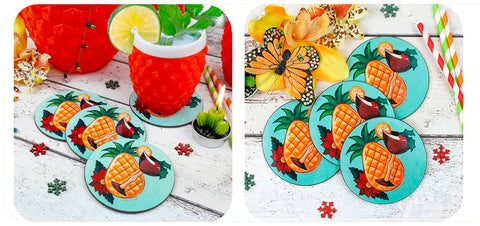 Tropical Tiki Christmas Coasters by Inkabilly & LadyJoBangles