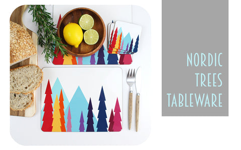 New Nordic Trees Design for Placemats and Coasters by Inkabilly