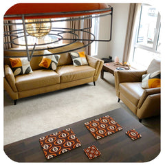 Brown 70s Op Art placemats and coasters in retro kitchen/lounge - customer photo | The Inkabilly Emproium
