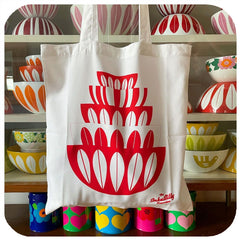 Cathrineholm tote bag with cathrineholm lotus bowls and vintage pyrex - customer photo   The Inkabilly Emporium