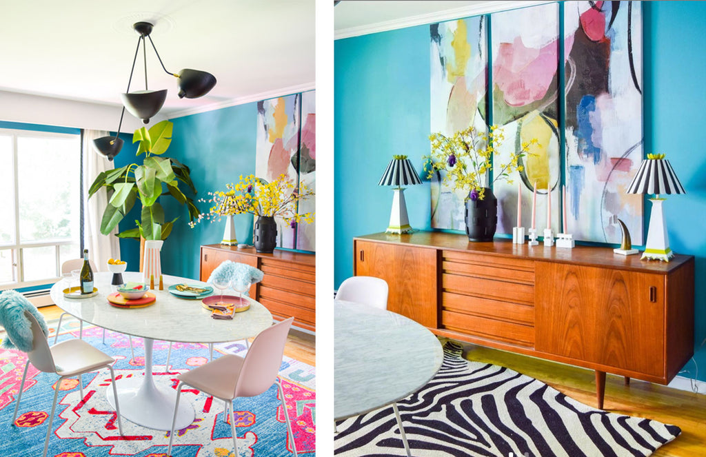 House Tour: Ariel's bold retro home - dining room with teak sideboard.Photo credit PMQforTWO