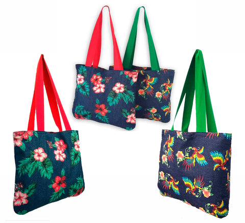 Tropical Denim Tote Bags, gift for rockabilly girls