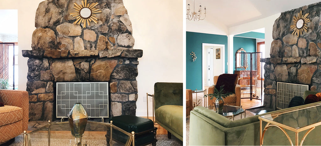 House Tour: Joel's Hollywood Regency Mountain Hideaway, stone fireplace with starburst mirror. Photo credit - Cat Collier-Martinez