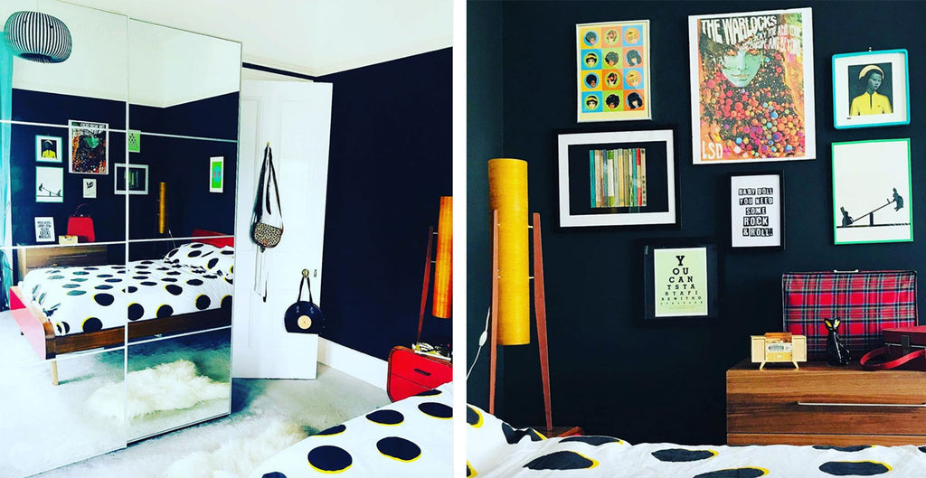 House Tour: Ali's Retro Pop Home - Bedroom with rocket lamps