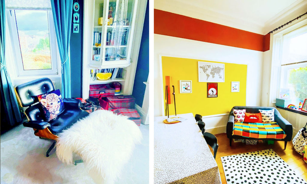 House Tour: Ali's Retro Pop Home - Corner details with bright colours
