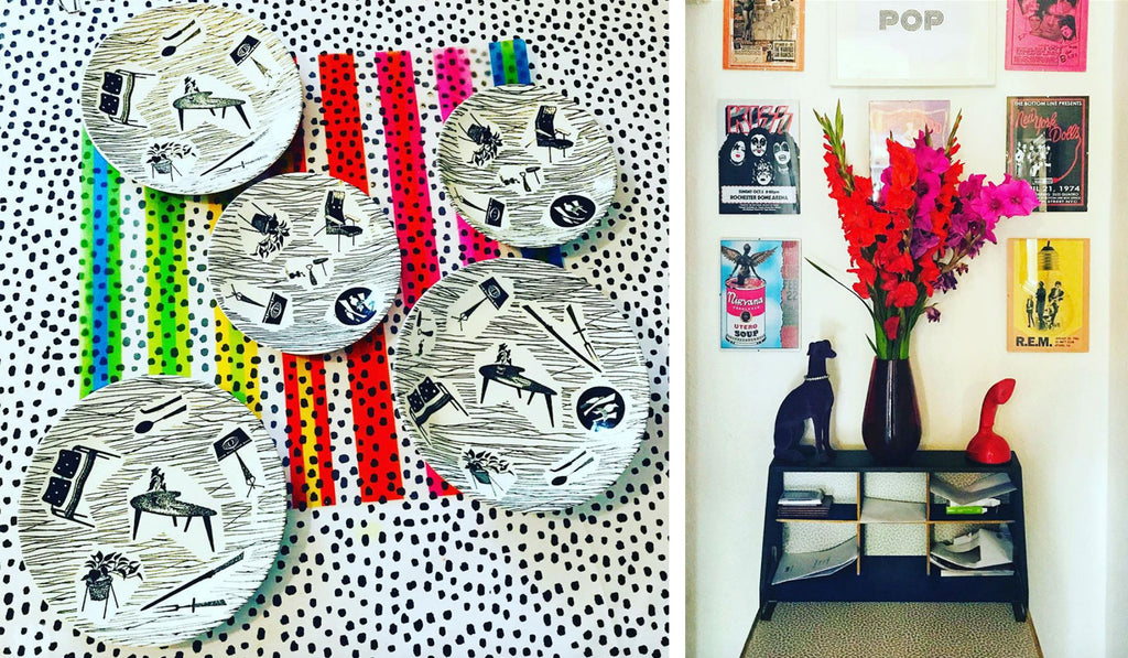 House Tour: Ali's Retro Pop Home - Details of Homemaker dinnerware and shelf with pop pictures
