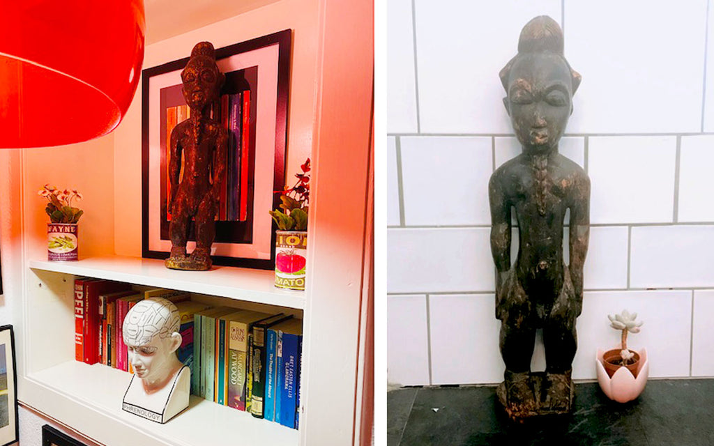 House Tour: Ali's Retro Pop Home - landing with Eritrean fertility statue