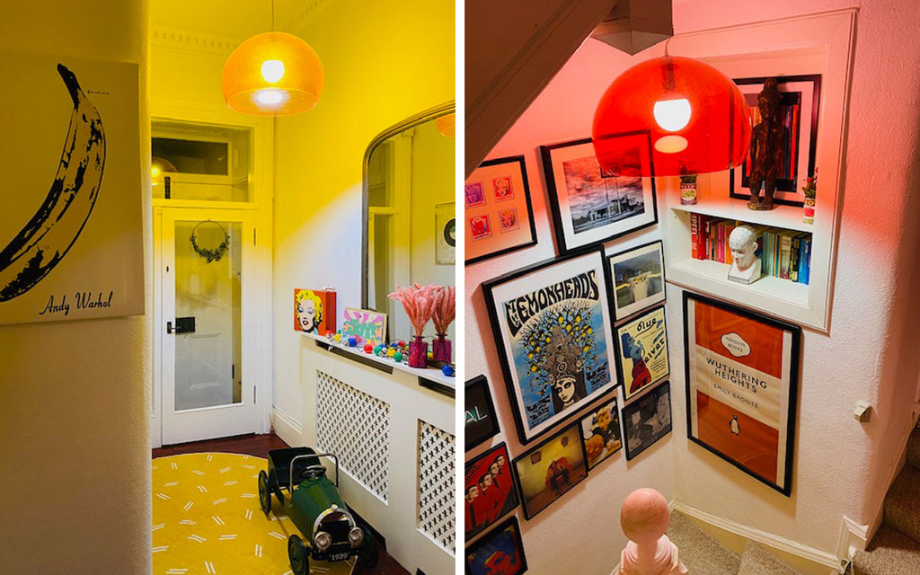 House Tour: Ali's Retro Pop Home - stairwell with Kartell Fly lampshades
