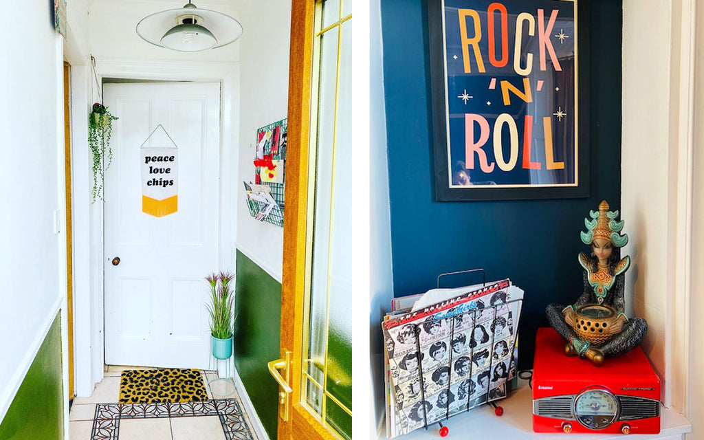 House Tour: Ali's Retro Pop Home - hallway and lounge corner detail, with funny graphic art