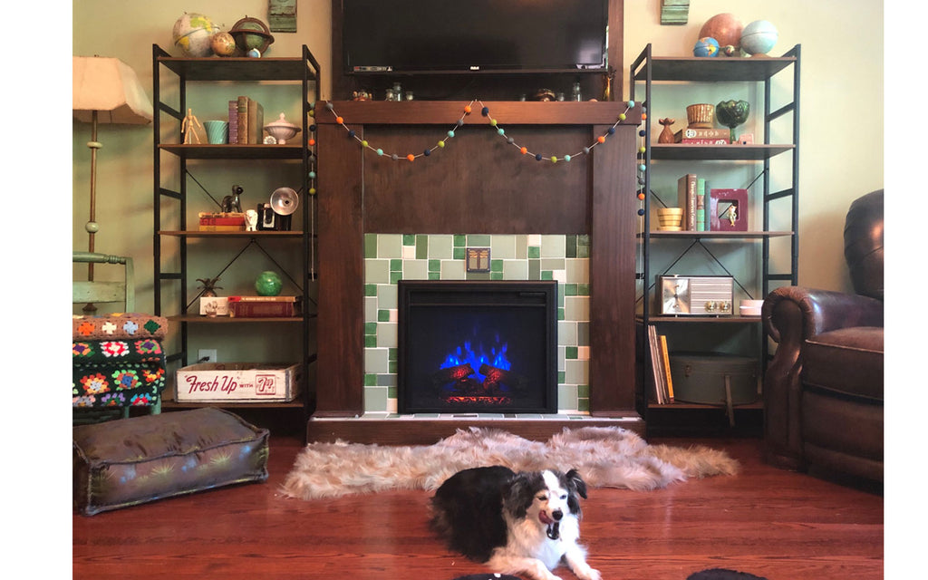 House Tour - Harmony's renovated faux vintage fireplace