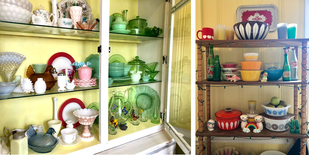 House Tour - Harmony's vintage shelfies with kitcheware, glass, pyrex and enamel