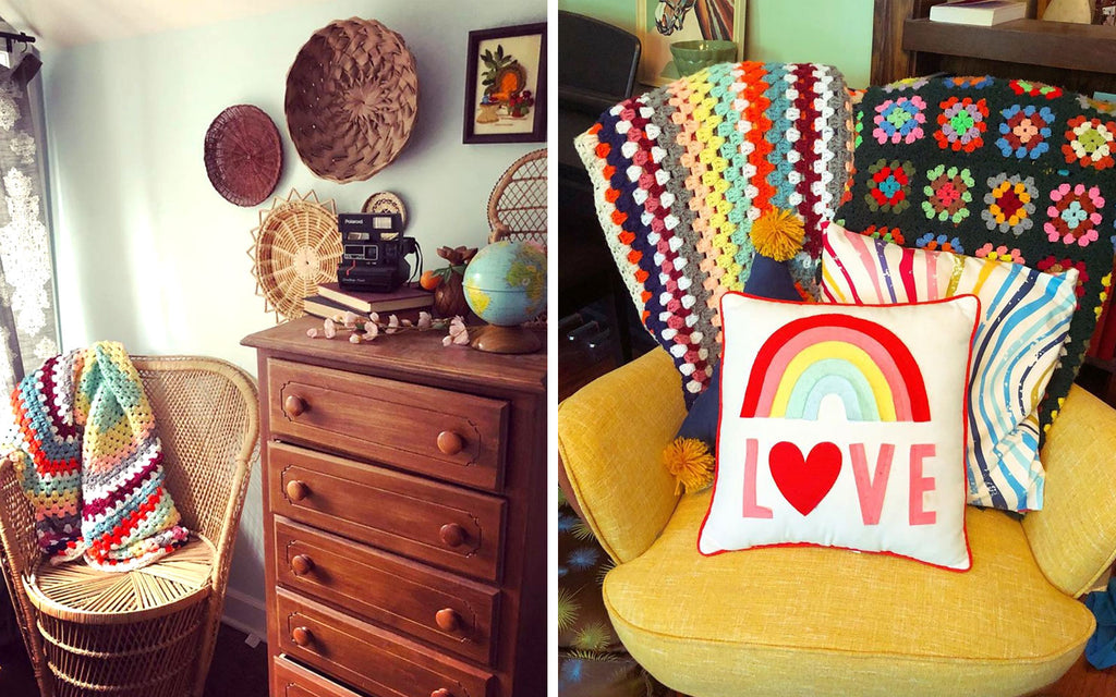 House Tour - Harmony's chair with vintage crochet throws and corner detail with vintage knick knacks