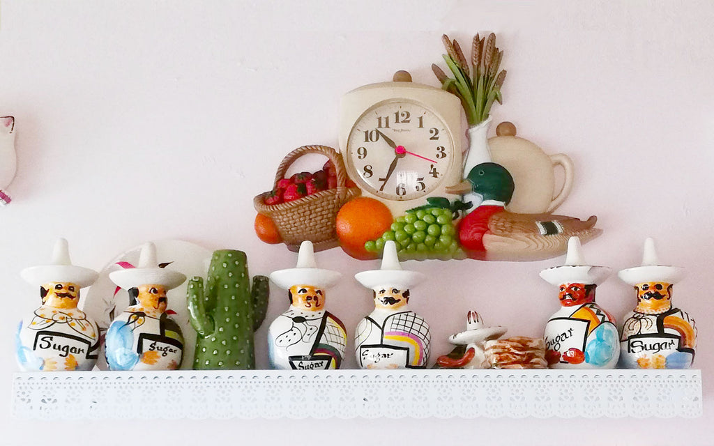 Hazel's Kitsch Shelf, an eclectic mix of vintage and Mexican folk pieces - Inkabilly Blog House Tour