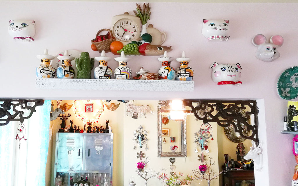 Hazel's Kitsch Shelfie in Kitchen, looking through to dining room - Inkabilly Blog House Tour