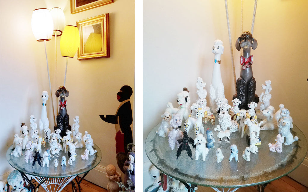 Hazel's Kitsch Poodle Collection with 50s lamp - Inkabilly Blog House Tour