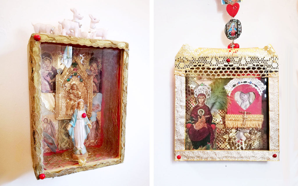 Hazel's handmade Kitsch Hallway shrines - Inkabilly Blog House Tour