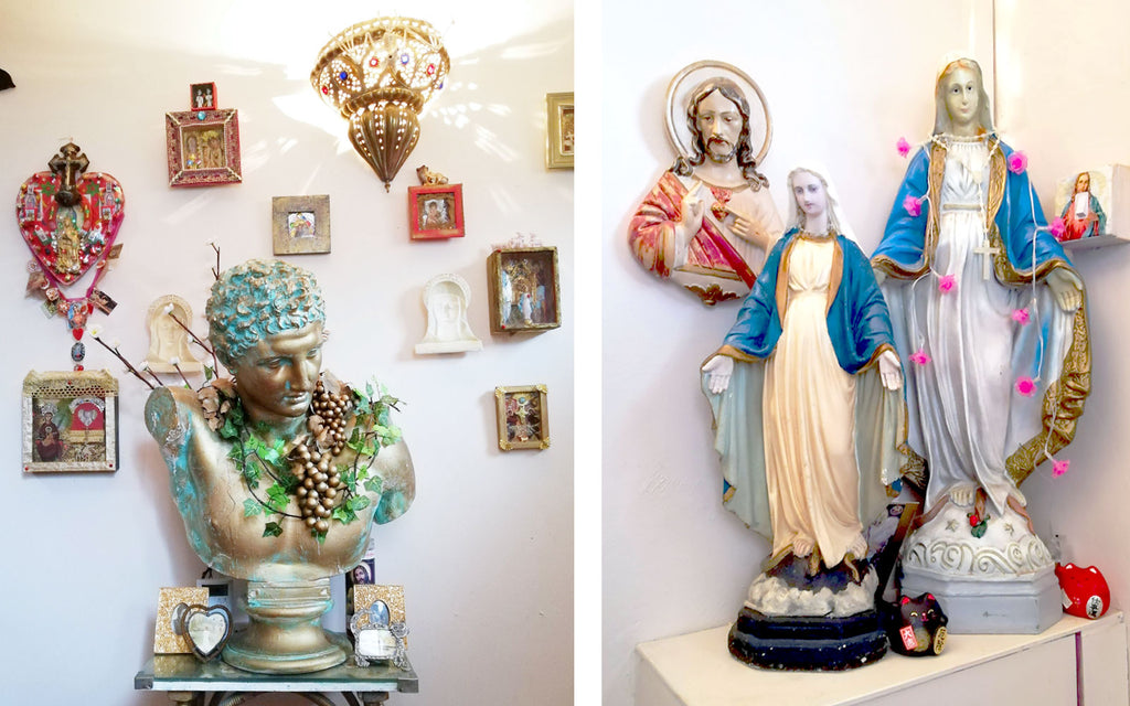Hazel's Kitsch Hallway shrines - Inkabilly Blog House Tour