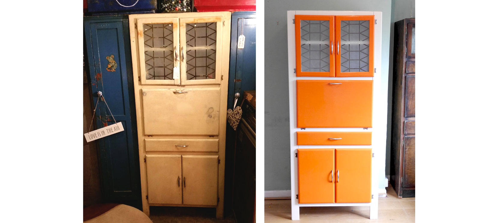 Hoosier cabinet refurb before and after shots