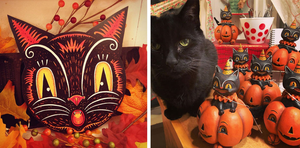 Johanna's Vintage inspired Halloween Cats and Pumpkins