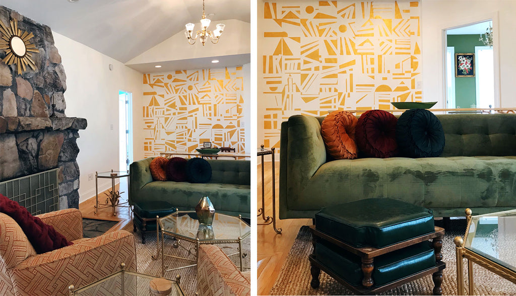 House Tour: Joel's Hollywood Regency Mountain Hideaway, lounge with gold geometric mural. Photo credit - Cat Collier-Martinez
