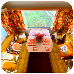 Customer photo - 1970s style Op Art Placemats and Coasters in Vintage caravan | The Inkabilly Emporium