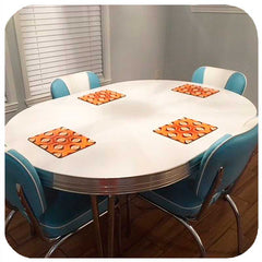 Customer photo - 70s Op Art placemats in orange on mid century dinette set | The Inkabilly Emporium